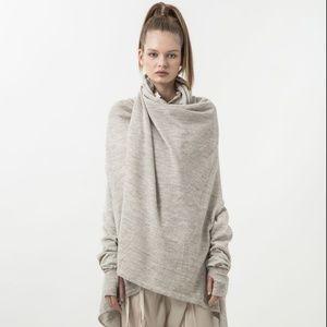 Nicholas K drape front sweater/sweatshirt, zip cuf